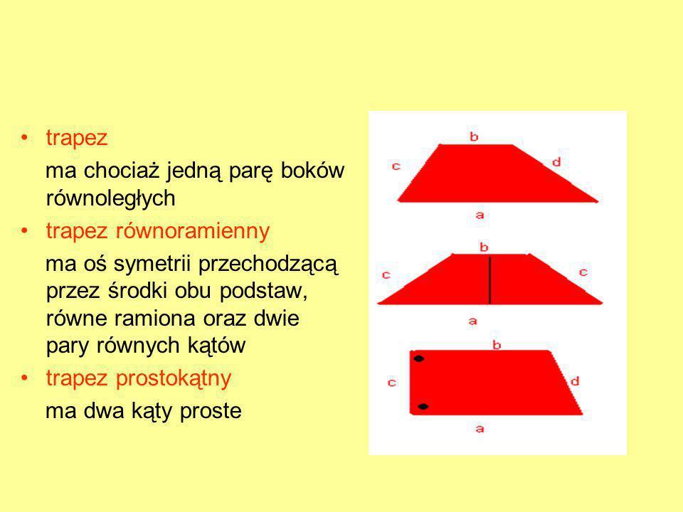 trapez ma chociaż jedną parę boków równoległych trapez równoramienny ma oś symetrii przechodzącą przez środki obu podstaw, równe ramiona oraz dwie par
