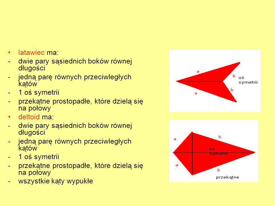 latawiec ma: -dwie pary sąsiednich boków równej długości -jedną parę równych przeciwległych kątów -1 oś symetrii -przekątne prostopadłe, które dzielą