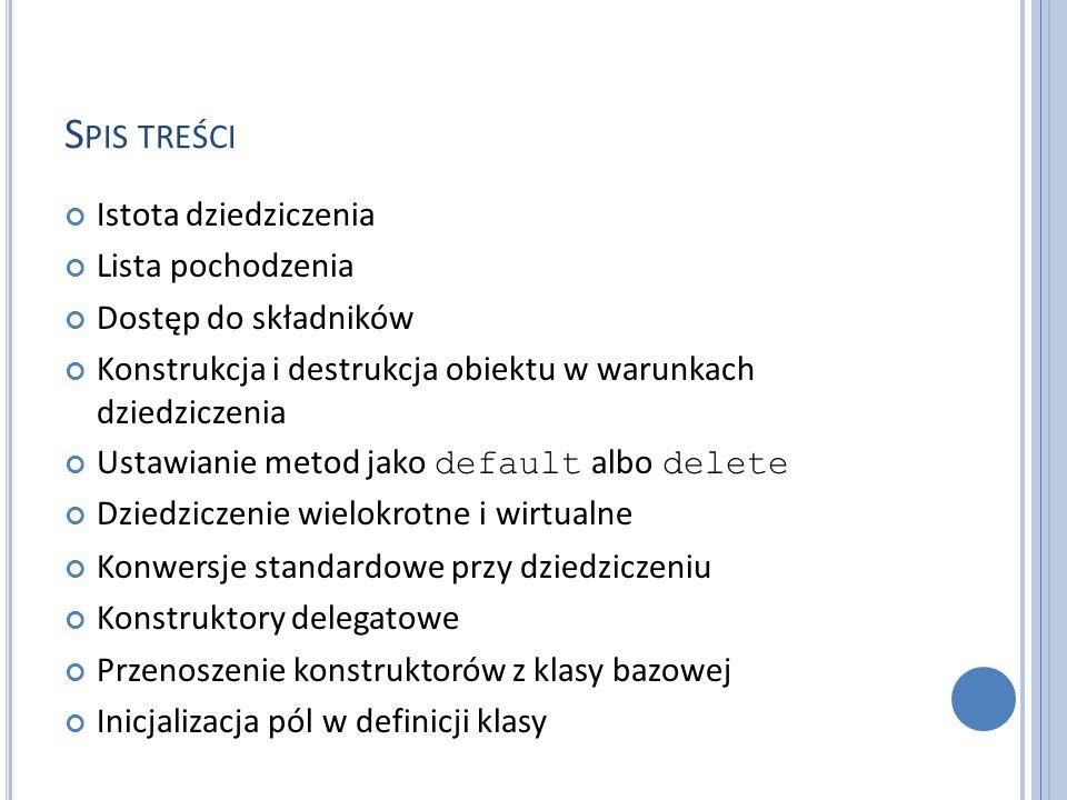 S PIS TREŚCI Istota dziedziczenia Lista pochodzenia Dostęp do składników Konstrukcja i destrukcja obiektu w warunkach dziedziczenia Ustawianie metod j