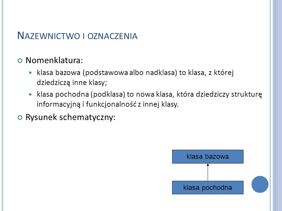 N AZEWNICTWO I OZNACZENIA Nomenklatura: klasa bazowa (podstawowa albo nadklasa) to klasa, z której dziedziczą inne klasy; klasa pochodna (podklasa) to