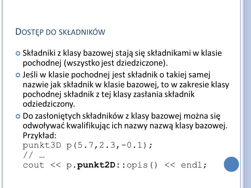 U STAWIANIE METOD JAKO DEFAULT Deklaracja deault wymusza na kompilatorze wygenerowanie domyślnej metody (konstruktora domyślnego).