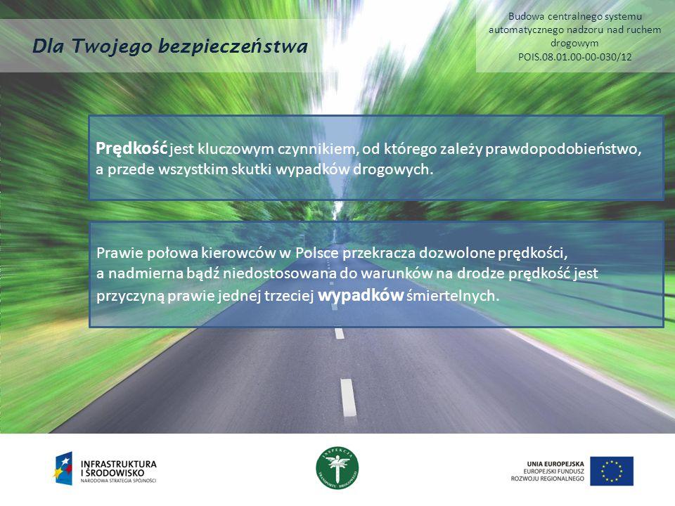 Dla Twojego bezpiecze ń stwa Prędkość jest kluczowym czynnikiem, od którego zależy prawdopodobieństwo, a przede wszystkim skutki wypadków drogowych. P