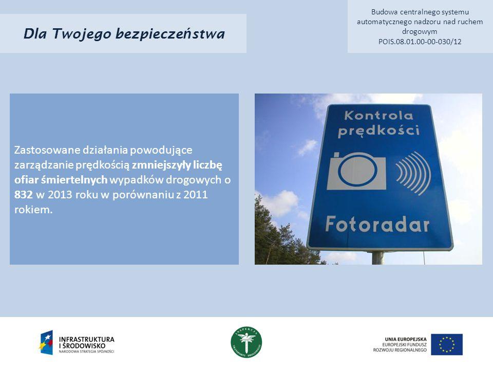 Dla Twojego bezpiecze ń stwa Zastosowane działania powodujące zarządzanie prędkością zmniejszyły liczbę ofiar śmiertelnych wypadków drogowych o 832 w