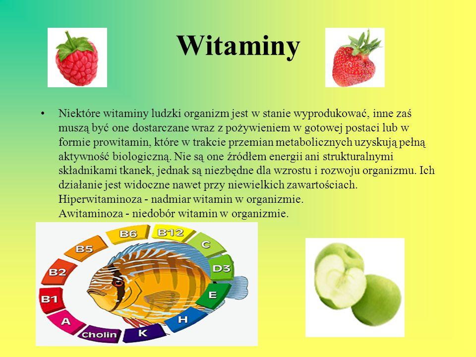Witaminy Niektóre witaminy ludzki organizm jest w stanie wyprodukować, inne zaś muszą być one dostarczane wraz z pożywieniem w gotowej postaci lub w f