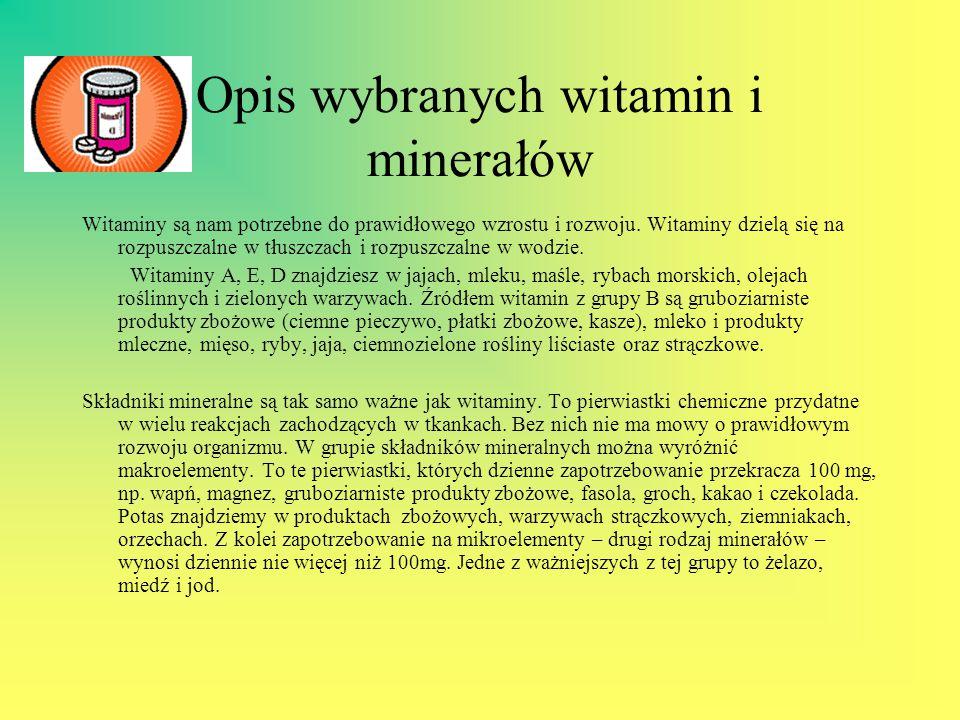 Opis wybranych witamin i minerałów Witaminy są nam potrzebne do prawidłowego wzrostu i rozwoju. Witaminy dzielą się na rozpuszczalne w tłuszczach i ro