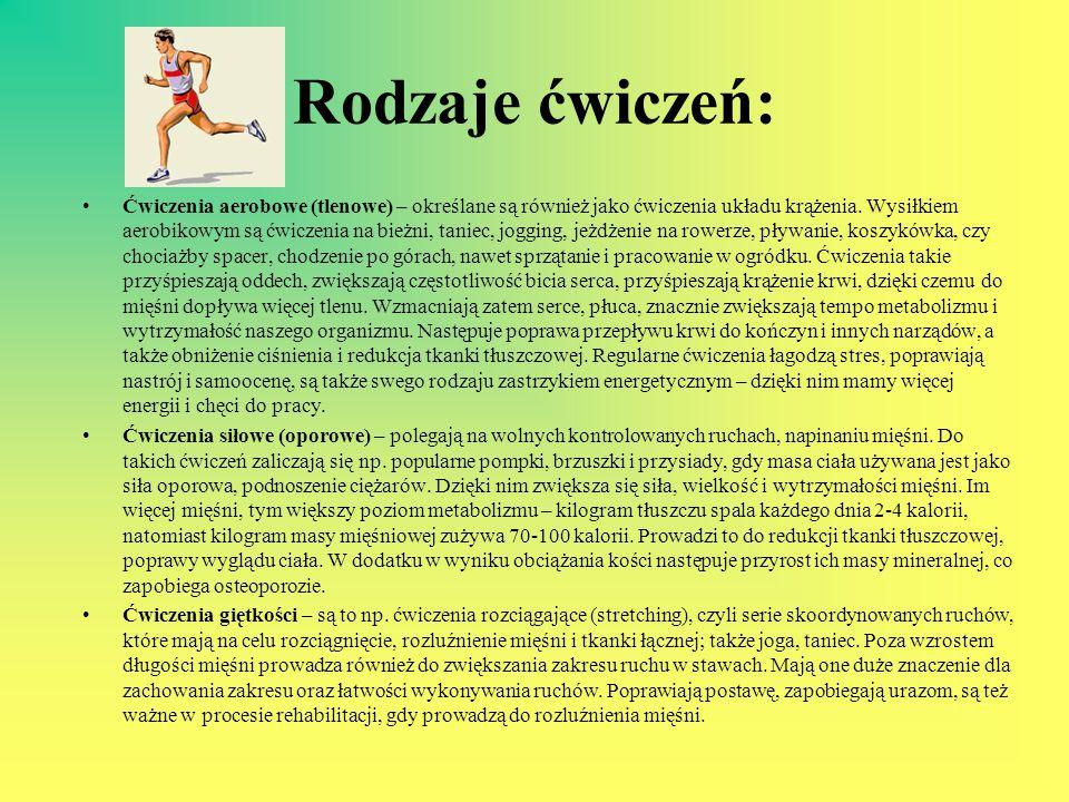 Rodzaje ćwiczeń: Ćwiczenia aerobowe (tlenowe) – określane są również jako ćwiczenia układu krążenia. Wysiłkiem aerobikowym są ćwiczenia na bieżni, tan