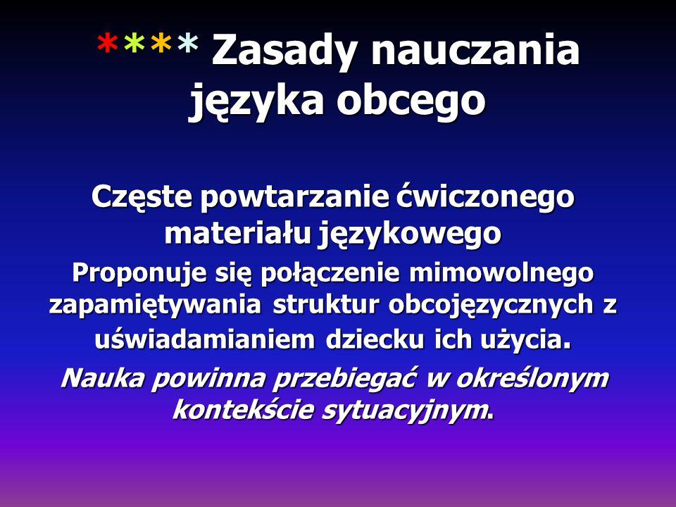 **** Zasady nauczania języka obcego Częste powtarzanie ćwiczonego materiału językowego Proponuje się połączenie mimowolnego zapamiętywania struktur ob