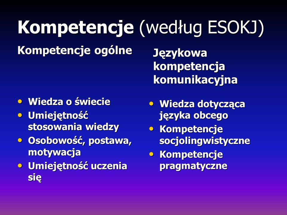 Kompetencje (według ESOKJ) Kompetencje ogólne Wiedza o świecie Wiedza o świecie Umiejętność stosowania wiedzy Umiejętność stosowania wiedzy Osobowość,