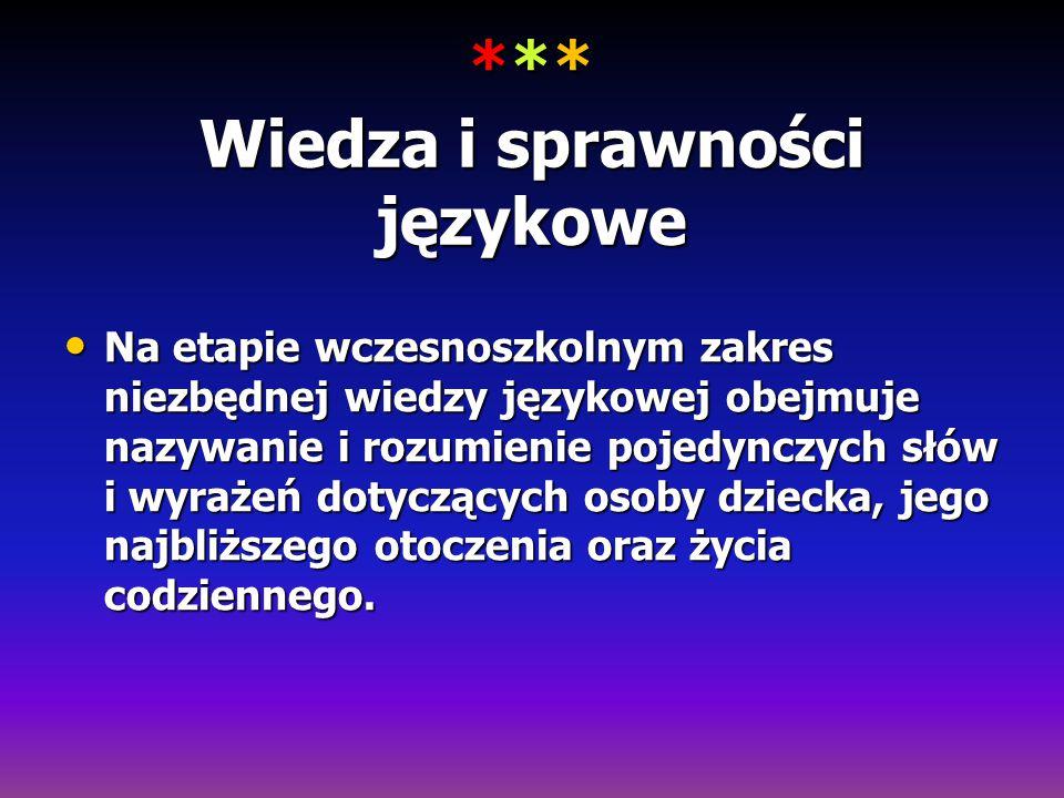 *** Wiedza i sprawności językowe Na etapie wczesnoszkolnym zakres niezbędnej wiedzy językowej obejmuje nazywanie i rozumienie pojedynczych słów i wyra