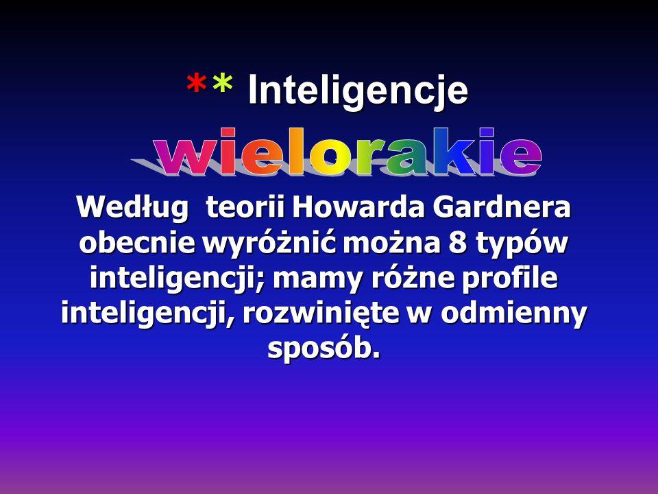 ** Inteligencje ** Inteligencje Według teorii Howarda Gardnera obecnie wyróżnić można 8 typów inteligencji; mamy różne profile inteligencji, rozwinięt