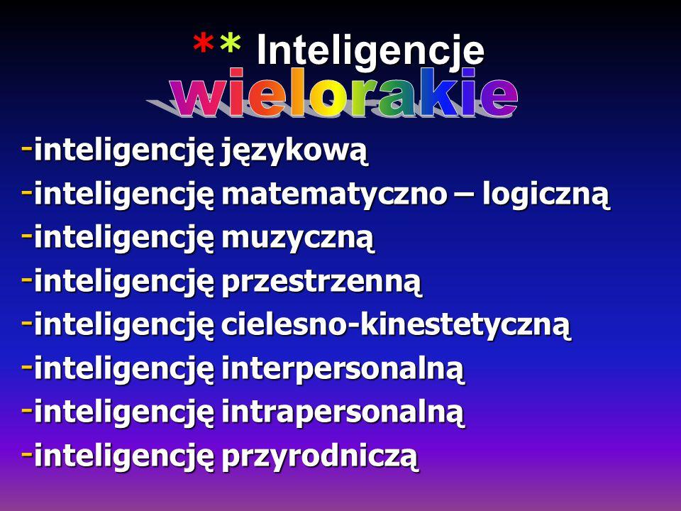 ** Inteligencje ** Inteligencje - inteligencję językową - inteligencję matematyczno – logiczną - inteligencję muzyczną - inteligencję przestrzenną - i