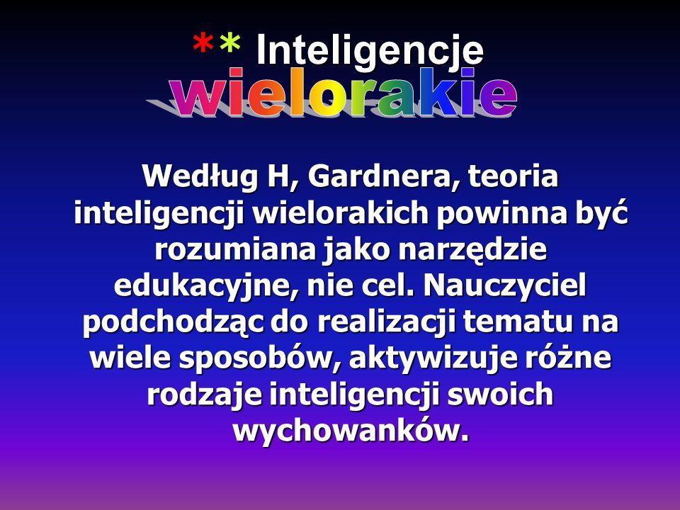 ** Inteligencje ** Inteligencje Według H, Gardnera, teoria inteligencji wielorakich powinna być rozumiana jako narzędzie edukacyjne, nie cel. Nauczyci