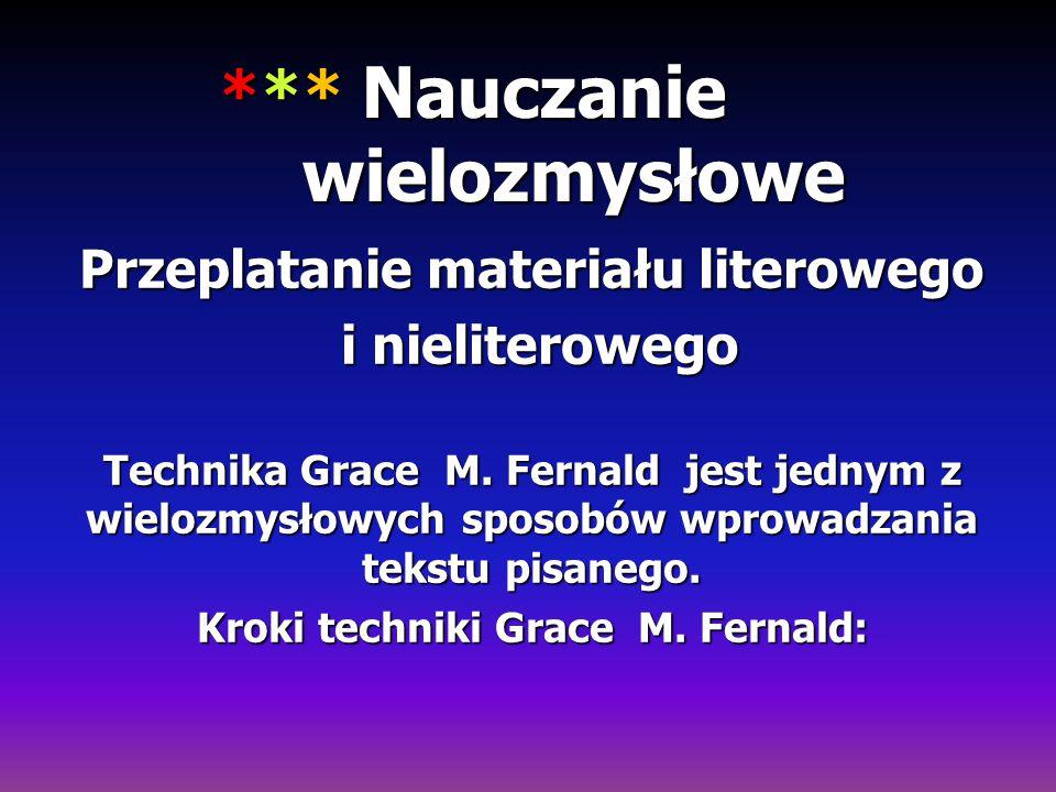 *** Nauczanie wielozmysłowe Przeplatanie materiału literowego i nieliterowego i nieliterowego Technika Grace M. Fernald jest jednym z wielozmysłowych