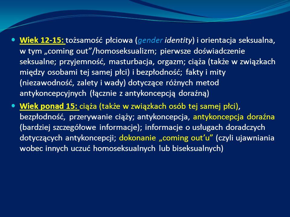 """Wiek 12-15: tożsamość płciowa (gender identity) i orientacja seksualna, w tym """"coming out""""/homoseksualizm; pierwsze doświadczenie seksualne; przyjemno"""