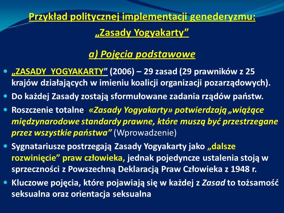 """Przykład politycznej implementacji genederyzmu: """"Zasady Yogyakarty"""" a) Pojęcia podstawowe """"ZASADY YOGYAKARTY"""" (2006) – 29 zasad (29 prawników z 25 kra"""
