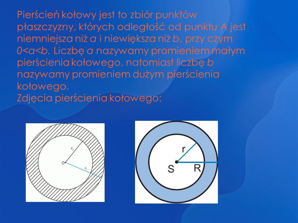 Pierścień kołowy jest to zbiór punktów płaszczyzny, których odległość od punktu A jest niemniejsza niż a i niewiększa niż b, przy czym 0<a<b. Liczbę a