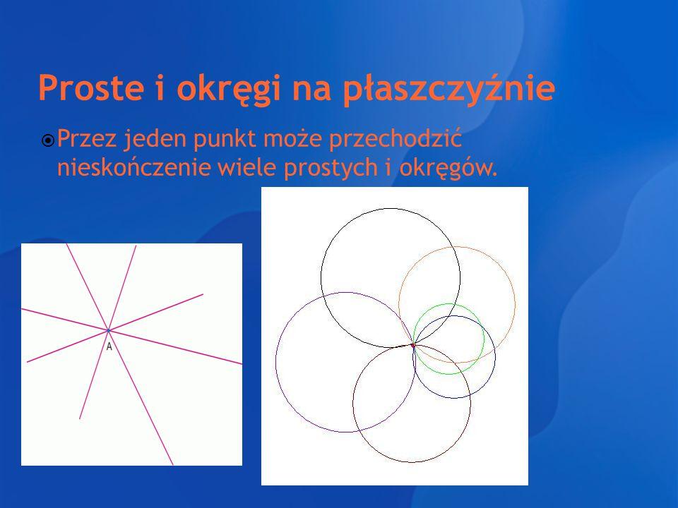 Proste i okręgi na płaszczyźnie  Przez jeden punkt może przechodzić nieskończenie wiele prostych i okręgów.