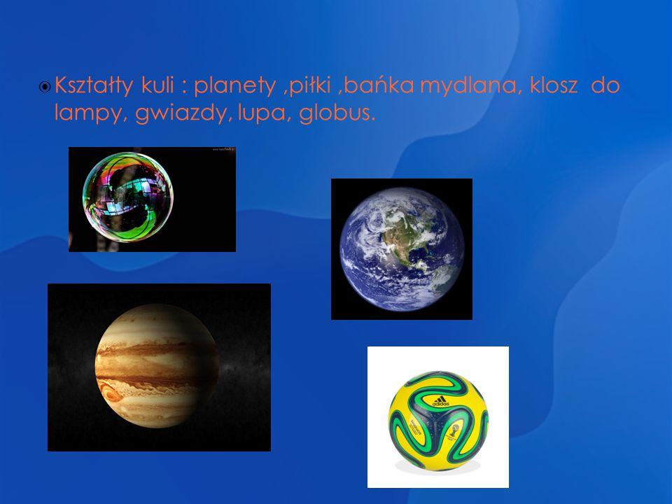  Kształty kuli : planety,piłki,bańka mydlana, klosz do lampy, gwiazdy, lupa, globus.