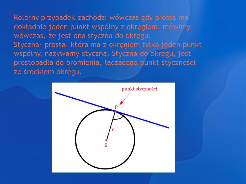 Kolejny przypadek zachodzi wówczas gdy prosta ma dokładnie jeden punkt wspólny z okręgiem, mówimy wówczas, że jest ona styczna do okręgu. Styczna- pro