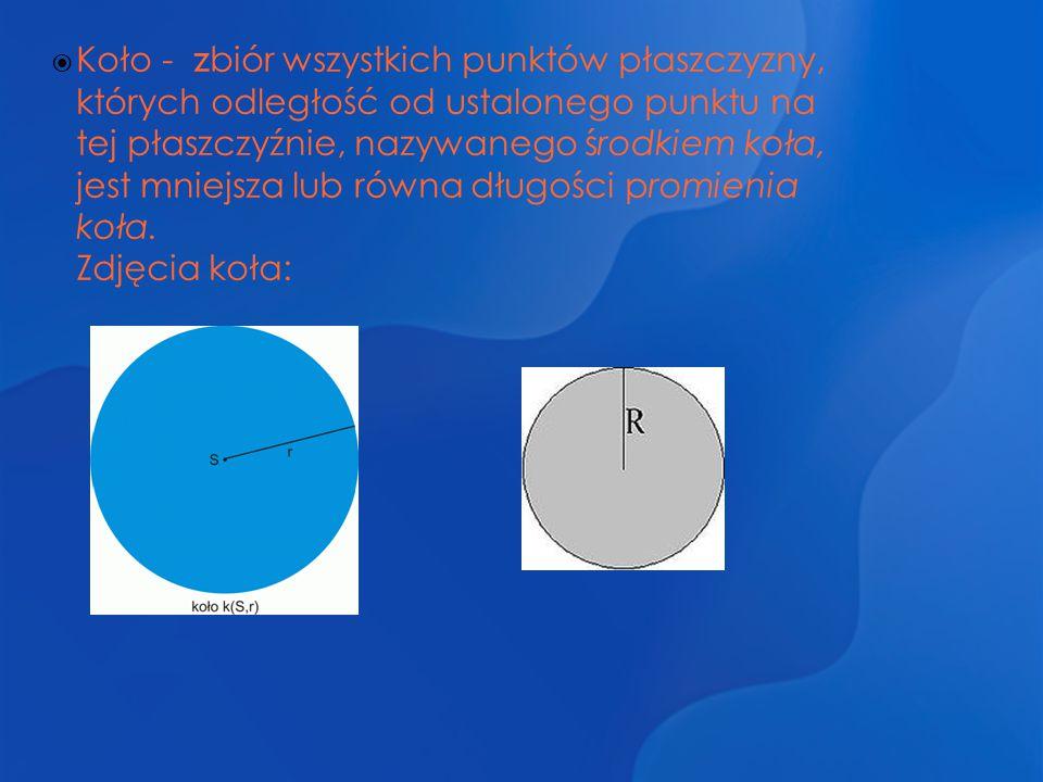  Koło - z biór wszystkich punktów płaszczyzny, których odległość od ustalonego punktu na tej płaszczyźnie, nazywanego środkiem koła, jest mniejsza lu