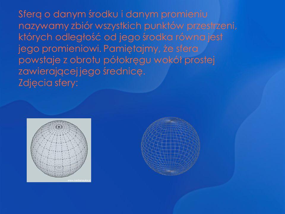 Sferą o danym środku i danym promieniu nazywamy zbiór wszystkich punktów przestrzeni, których odległość od jego środka równa jest jego promieniowi. Pa