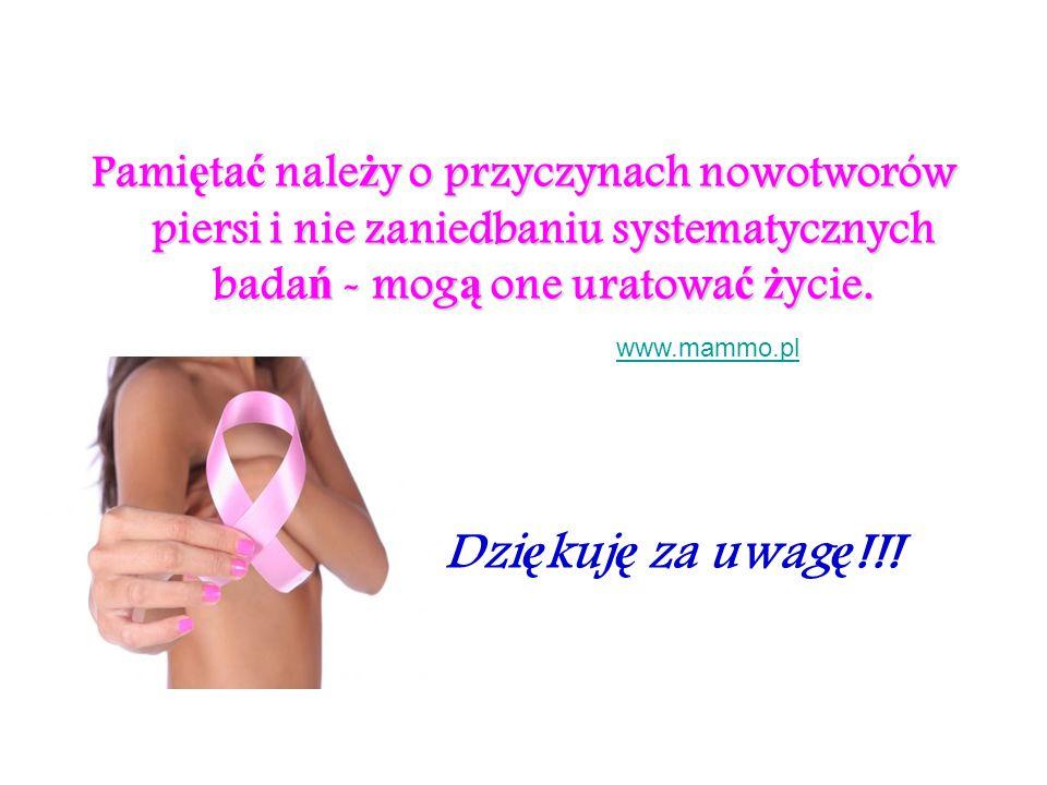 Dzi ę kuj ę za uwag ę !!! Pami ę ta ć nale ż y o przyczynach nowotworów piersi i nie zaniedbaniu systematycznych bada ń - mog ą one uratowa ć ż ycie.