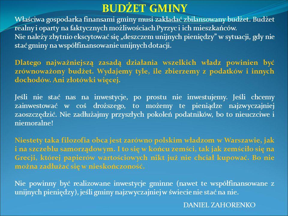 BUDŻET GMINY Właściwa gospodarka finansami gminy musi zakładać zbilansowany budżet. Budżet realny i oparty na faktycznych możliwościach Pyrzyc i ich m
