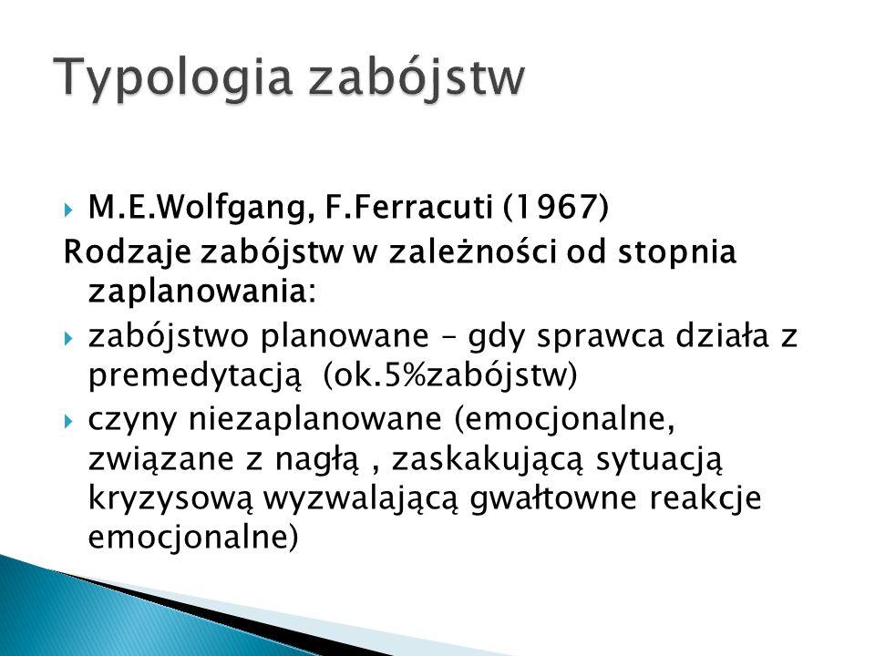  M.E.Wolfgang, F.Ferracuti (1967) Rodzaje zabójstw w zależności od stopnia zaplanowania:  zabójstwo planowane – gdy sprawca działa z premedytacją (ok.5%zabójstw)  czyny niezaplanowane (emocjonalne, związane z nagłą, zaskakującą sytuacją kryzysową wyzwalającą gwałtowne reakcje emocjonalne)