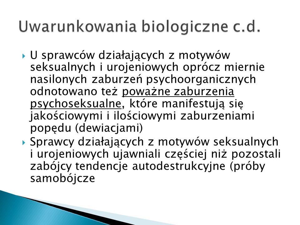  U sprawców działających z motywów seksualnych i urojeniowych oprócz miernie nasilonych zaburzeń psychoorganicznych odnotowano też poważne zaburzenia psychoseksualne, które manifestują się jakościowymi i ilościowymi zaburzeniami popędu (dewiacjami)  Sprawcy działających z motywów seksualnych i urojeniowych ujawniali częściej niż pozostali zabójcy tendencje autodestrukcyjne (próby samobójcze