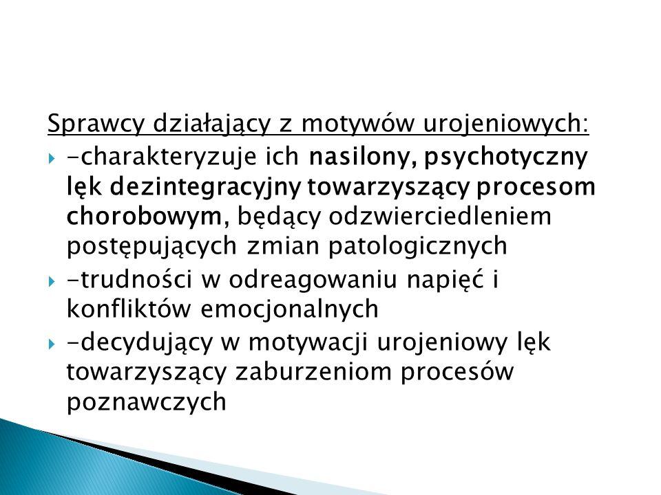 Sprawcy działający z motywów urojeniowych:  -charakteryzuje ich nasilony, psychotyczny lęk dezintegracyjny towarzyszący procesom chorobowym, będący o