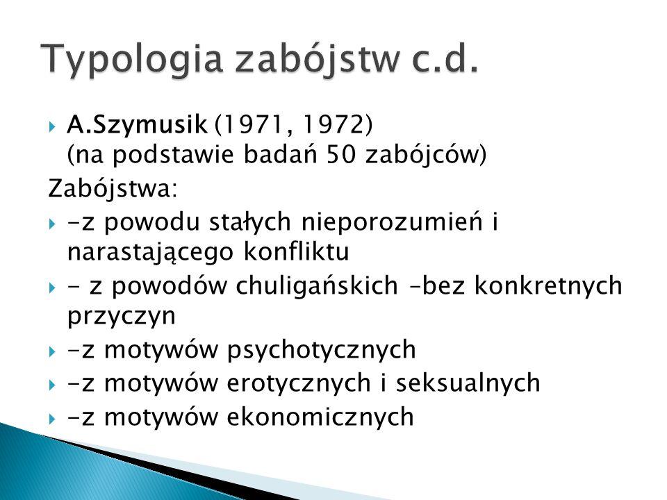  A.Szymusik (1971, 1972) (na podstawie badań 50 zabójców) Zabójstwa:  -z powodu stałych nieporozumień i narastającego konfliktu  - z powodów chuligańskich –bez konkretnych przyczyn  -z motywów psychotycznych  -z motywów erotycznych i seksualnych  -z motywów ekonomicznych