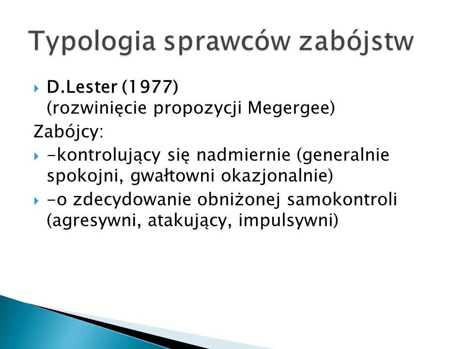  D.Lester (1977) (rozwinięcie propozycji Megergee) Zabójcy:  -kontrolujący się nadmiernie (generalnie spokojni, gwałtowni okazjonalnie)  -o zdecydowanie obniżonej samokontroli (agresywni, atakujący, impulsywni)