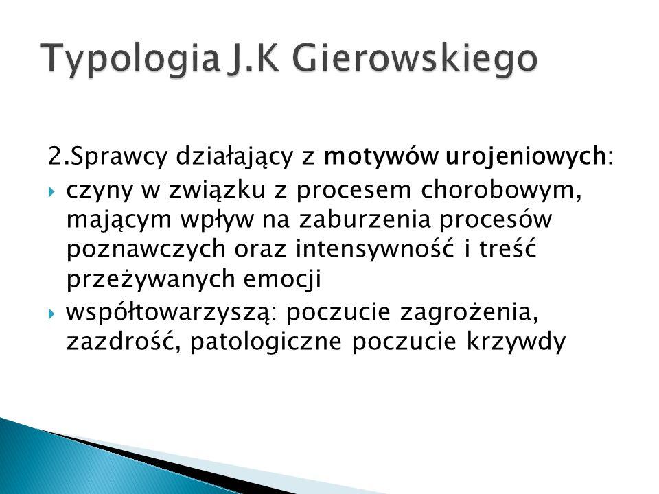 2.Sprawcy działający z motywów urojeniowych:  czyny w związku z procesem chorobowym, mającym wpływ na zaburzenia procesów poznawczych oraz intensywność i treść przeżywanych emocji  współtowarzyszą: poczucie zagrożenia, zazdrość, patologiczne poczucie krzywdy