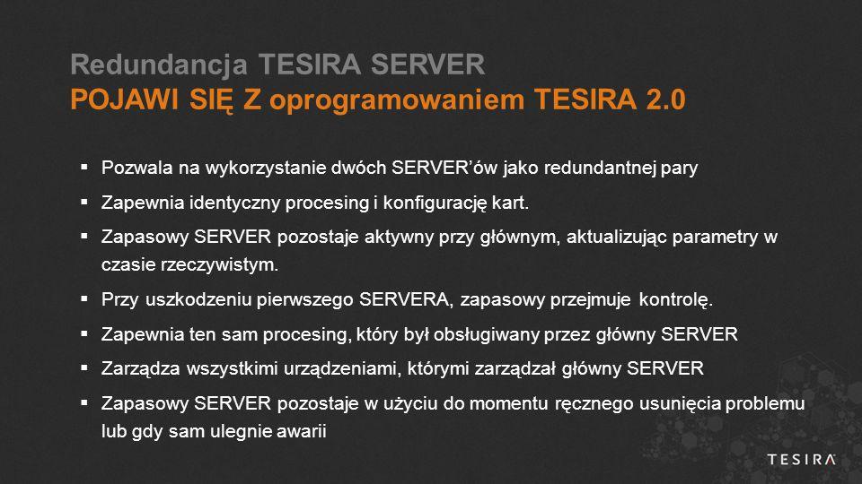  Pozwala na wykorzystanie dwóch SERVER'ów jako redundantnej pary  Zapewnia identyczny procesing i konfigurację kart.