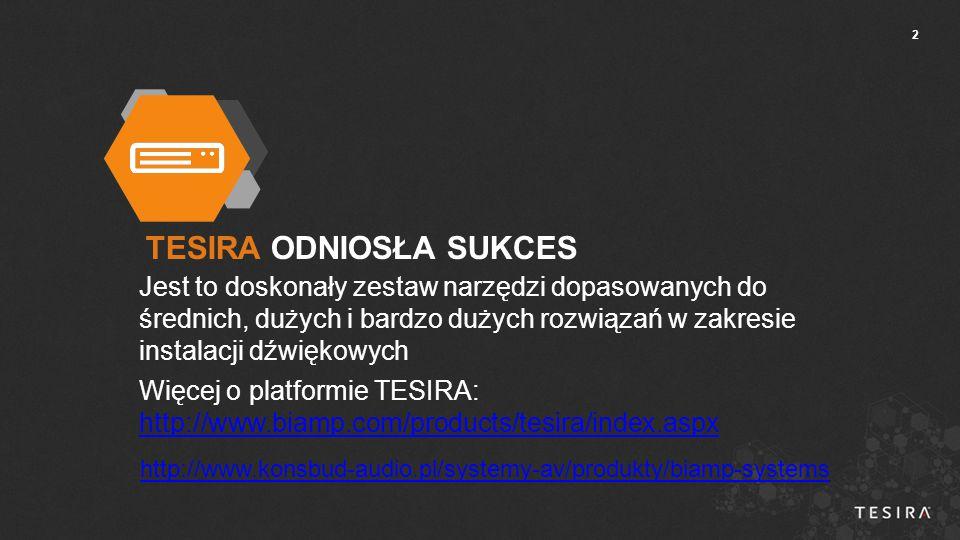 13  Oprogramowanie Tesira będzie pracować w trzech trybach:  Tryb TYLKO Tesira FORTE – zapewnia przy kompilacji tylko rozwiązania z użyciem modeli Tesira FORTE i ekspandery.