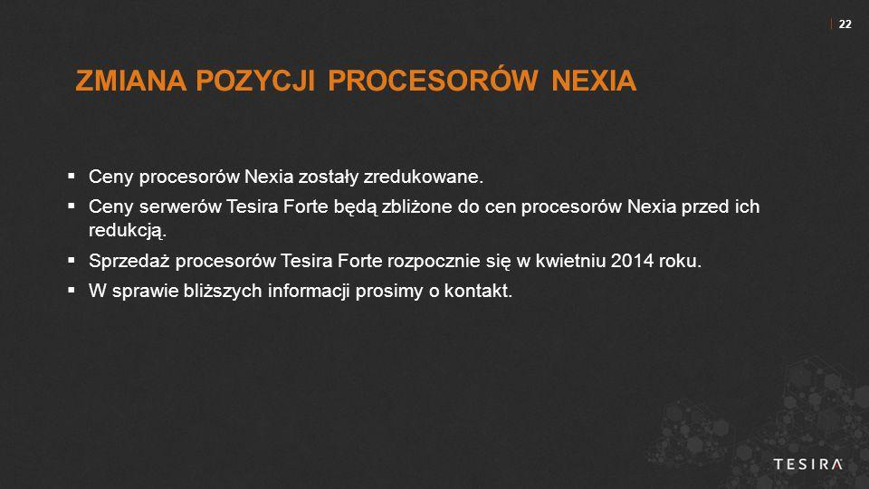 22  Ceny procesorów Nexia zostały zredukowane.