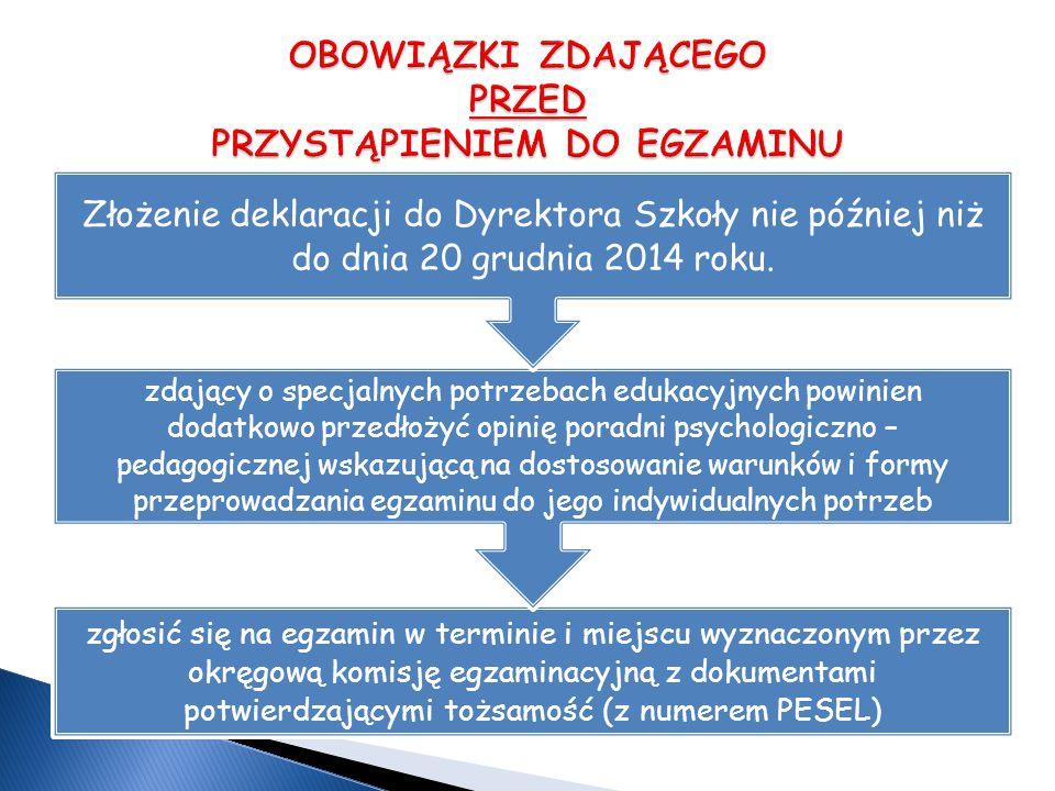 zgłosić się na egzamin w terminie i miejscu wyznaczonym przez okręgową komisję egzaminacyjną z dokumentami potwierdzającymi tożsamość (z numerem PESEL) zdający o specjalnych potrzebach edukacyjnych powinien dodatkowo przedłożyć opinię poradni psychologiczno – pedagogicznej wskazującą na dostosowanie warunków i formy przeprowadzania egzaminu do jego indywidualnych potrzeb Złożenie deklaracji do Dyrektora Szkoły nie później niż do dnia 20 grudnia 2014 roku.