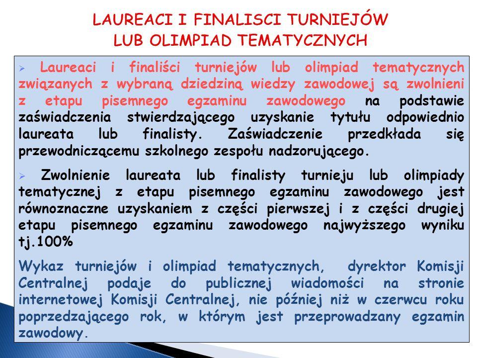  Laureaci i finaliści turniejów lub olimpiad tematycznych związanych z wybraną dziedziną wiedzy zawodowej są zwolnieni z etapu pisemnego egzaminu zawodowego na podstawie zaświadczenia stwierdzającego uzyskanie tytułu odpowiednio laureata lub finalisty.