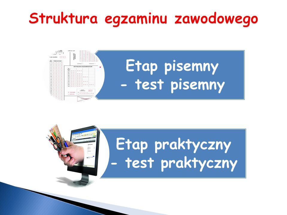 Część II – zakres wiadomości i umiejętności związanych z zatrudnieniem i działalnością gospodarczą Zdający rozwiązuje test zawierający 20 zadań zamkniętych ETAP PISEMNY Czas trwania 120 minut Etap praktyczny – obejmuje wykonanie zadania egzaminacyjnego, sprawdzającego praktyczne umiejętności z zakresu kwalifikacji w danym zawodzie.