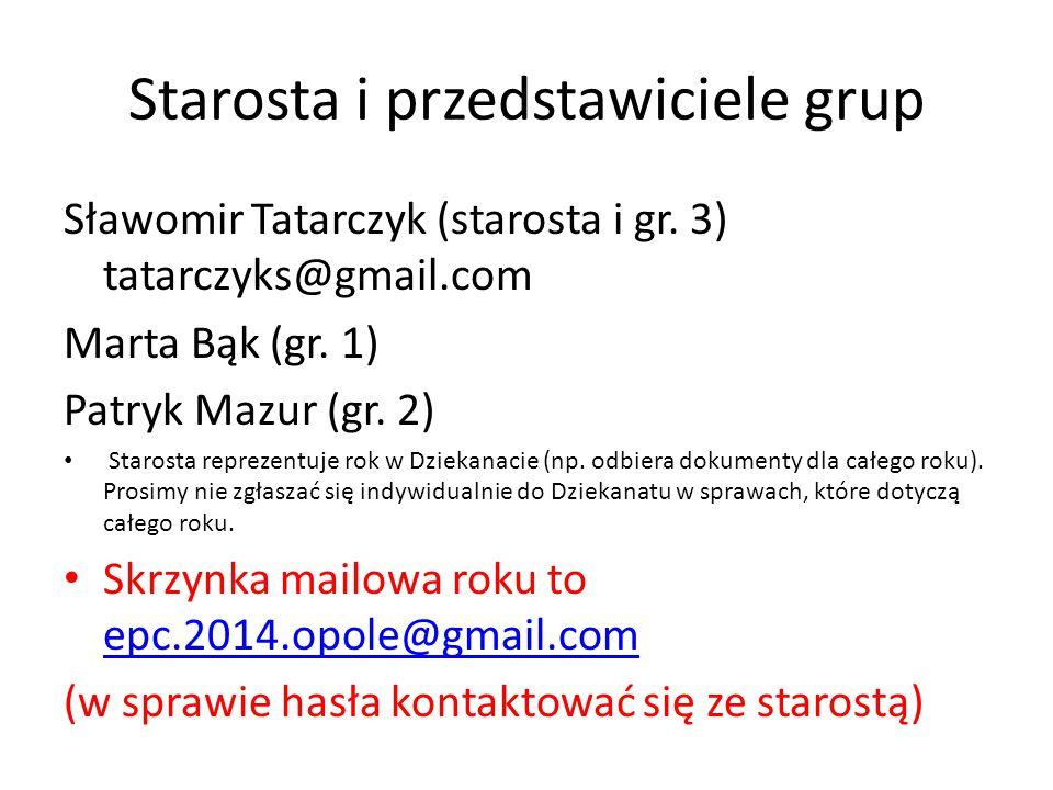 Starosta i przedstawiciele grup Sławomir Tatarczyk (starosta i gr. 3) tatarczyks@gmail.com Marta Bąk (gr. 1) Patryk Mazur (gr. 2) Starosta reprezentuj
