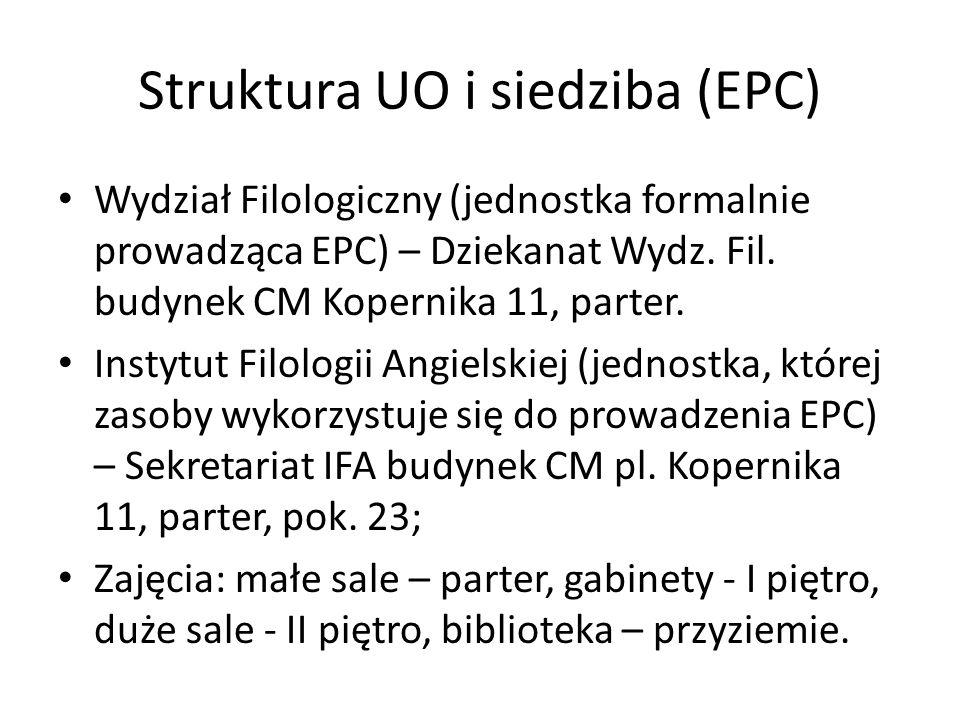 Struktura UO i siedziba (EPC) Wydział Filologiczny (jednostka formalnie prowadząca EPC) – Dziekanat Wydz. Fil. budynek CM Kopernika 11, parter. Instyt