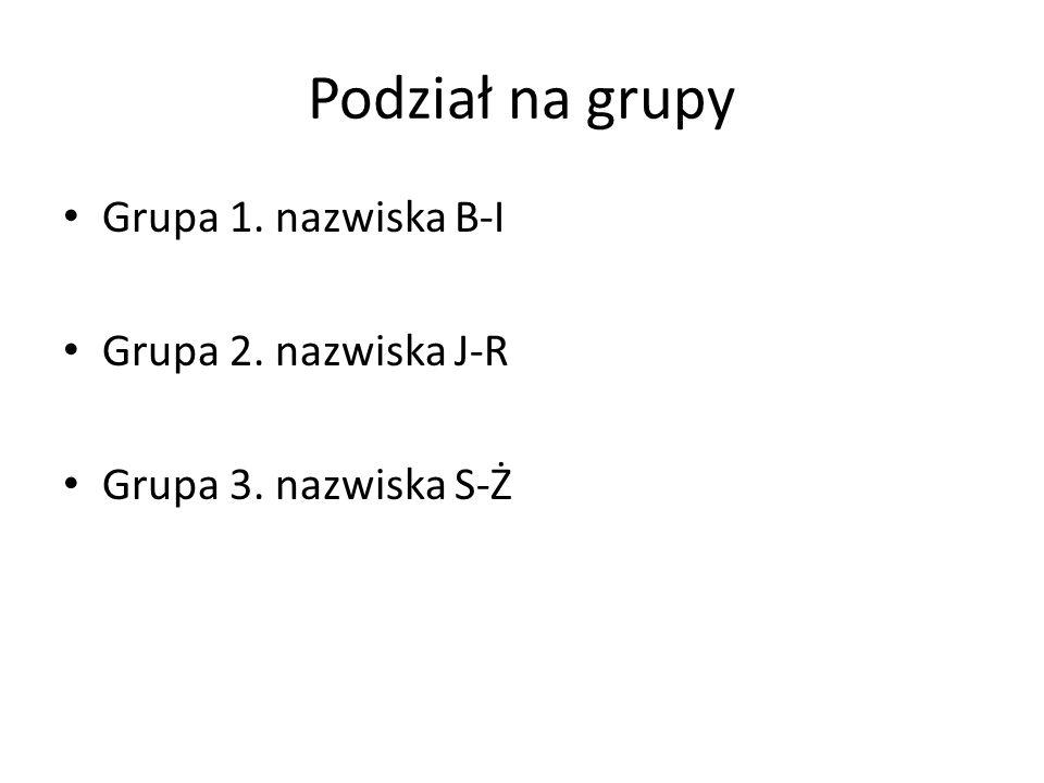 Podział na grupy Grupa 1. nazwiska B-I Grupa 2. nazwiska J-R Grupa 3. nazwiska S-Ż