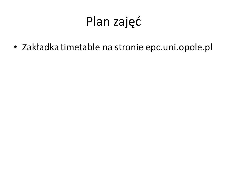 Plan zajęć Zakładka timetable na stronie epc.uni.opole.pl