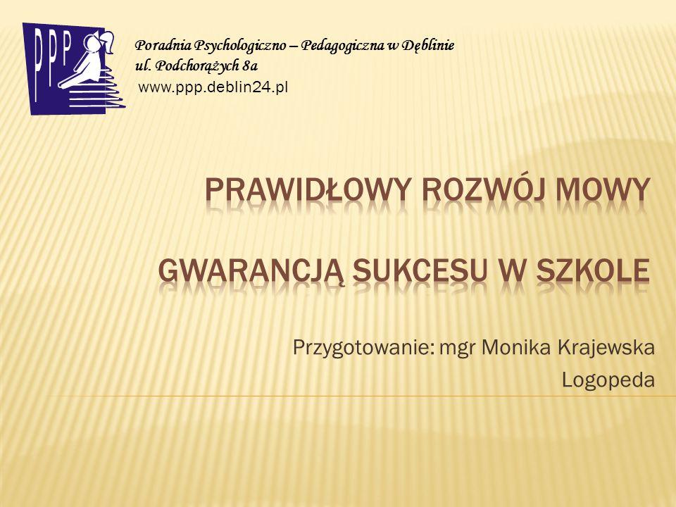 Przygotowanie: mgr Monika Krajewska Logopeda Poradnia Psychologiczno – Pedagogiczna w Dęblinie ul. Podchorążych 8a www.ppp.deblin24.pl