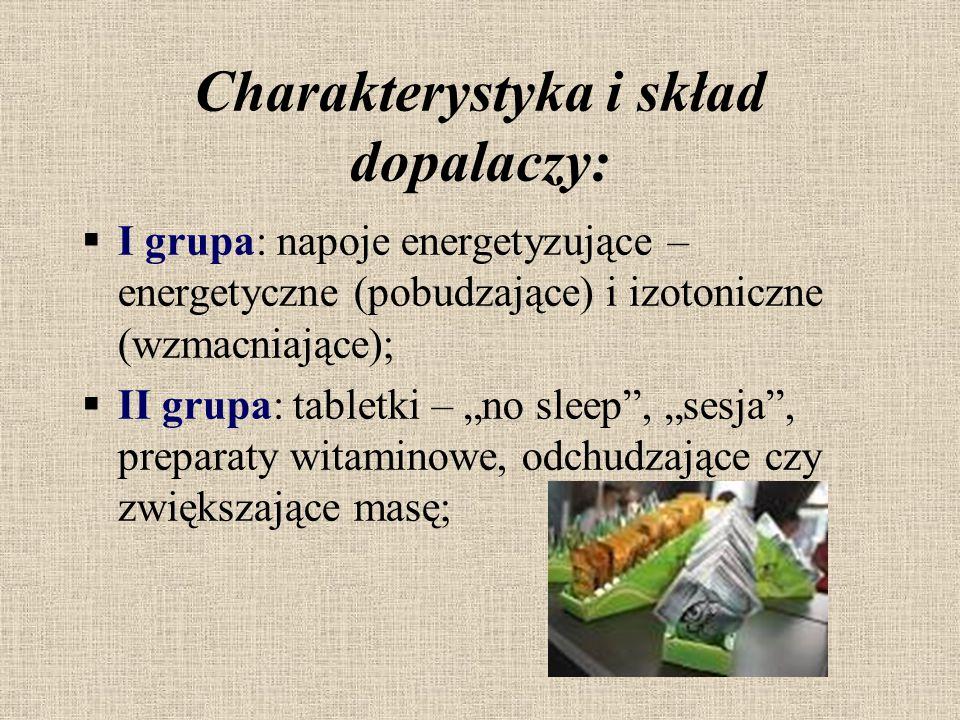 Charakterystyka i skład dopalaczy:  I grupa: napoje energetyzujące – energetyczne (pobudzające) i izotoniczne (wzmacniające);  II grupa: tabletki –