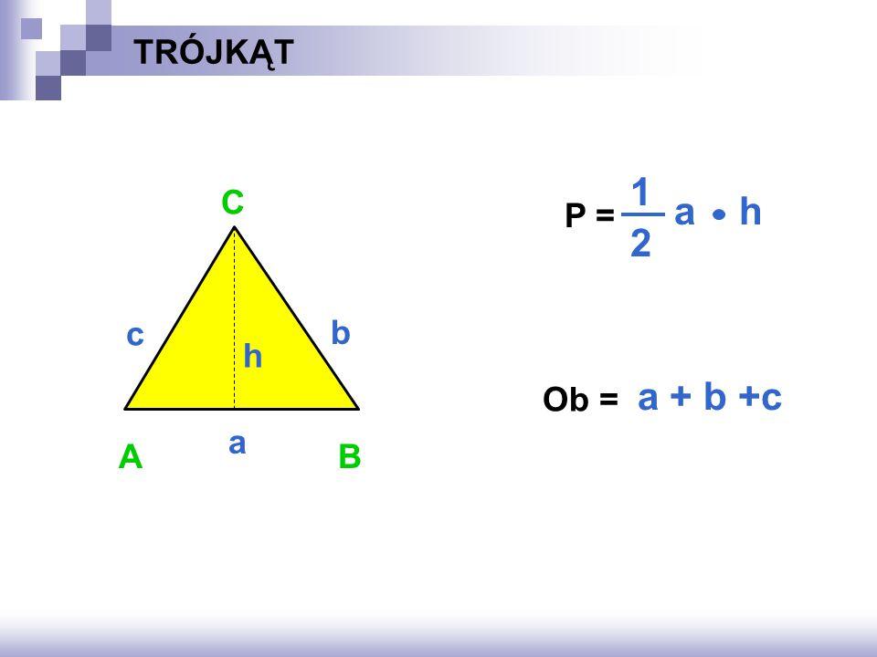 TRÓJKĄT P = ? Ob = ? AB C a b a + b +c c a h 1 2 h
