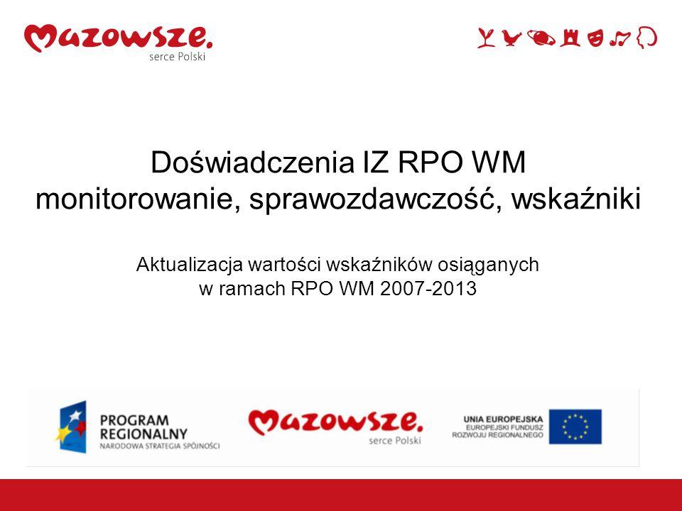 1 Aktualizacja wartości wskaźników osiągniętych w ramach RPO WM 2007-2013 Obecnie IZ RPO WM pracuje nad bazą danych, która umożliwi łatwy dostęp do wskaźników postępu rzeczowego, z poziomu umów, działań, priorytetów i wskaźników Komisji Europejskiej.
