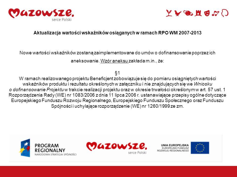 1 Aktualizacja wartości wskaźników osiąganych w ramach RPO WM 2007-2013 Nowe wartości wskaźników zostaną zaimplementowane do umów o dofinansowanie poprzez ich aneksowanie.