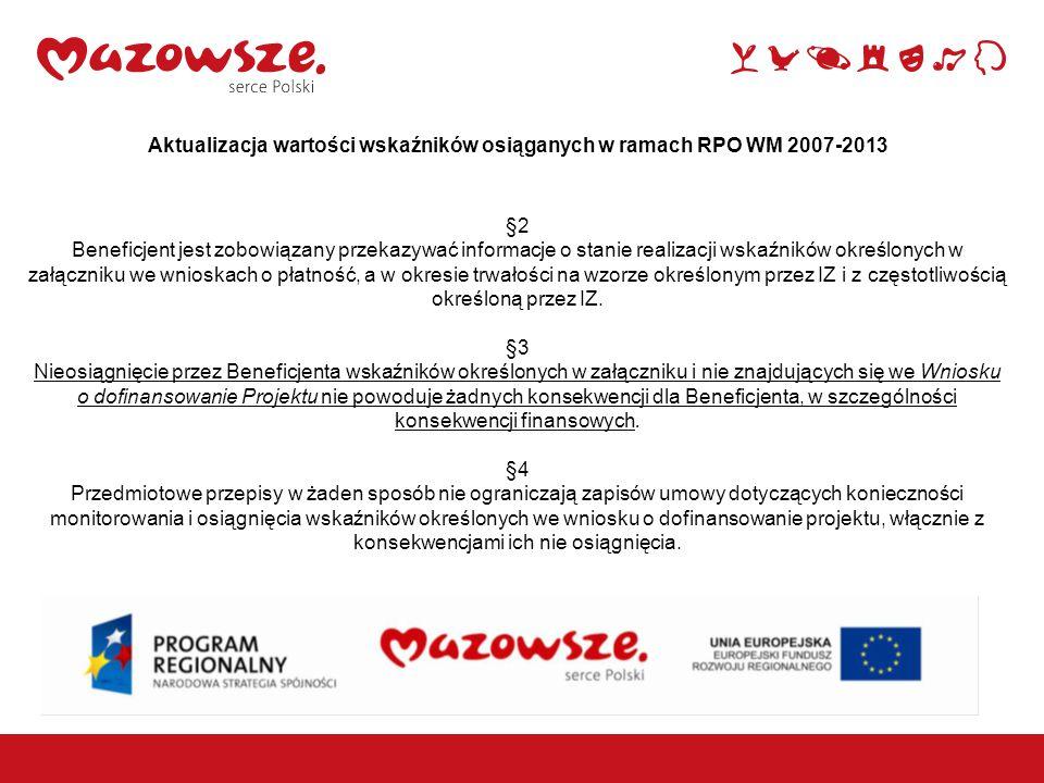 1 Aktualizacja wartości wskaźników osiąganych w ramach RPO WM 2007-2013 §2 Beneficjent jest zobowiązany przekazywać informacje o stanie realizacji wskaźników określonych w załączniku we wnioskach o płatność, a w okresie trwałości na wzorze określonym przez IZ i z częstotliwością określoną przez IZ.