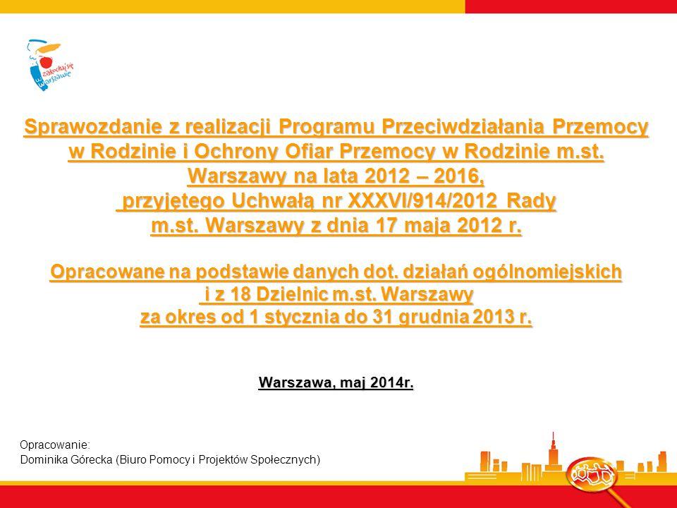 Ogólnomiejskie umowy dotacyjne Na realizację zadań w 2013 roku m.st.